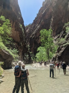 The Wolters hiking the narrows of Zion in Utah